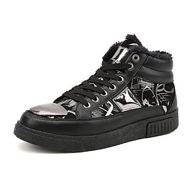 メンズ 靴 レザーレット 春 秋 冬 コンフォートシューズ ファッションブーツ アスレチック・シューズ 用途 カジュアル ブラック