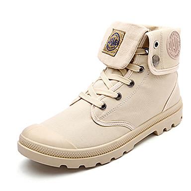 Miehet Bootsit Comfort PU Kevät Syksy Kausaliteetti Comfort Solmittavat Tasapohja Musta Harmaa Khaki Tasapohja