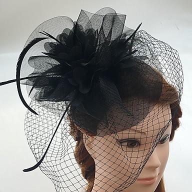 チュール 羽毛 ネット フラワー  -  魅力的な人 帽子 鳥かご型ベール 1個 結婚式 パーティー カジュアル かぶと