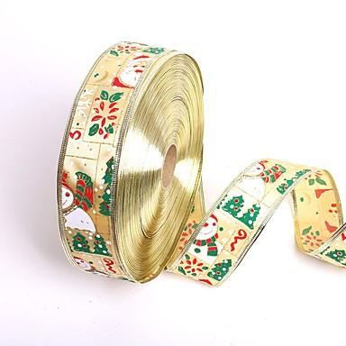 新しい5センチメートル*の200センチメートルかわいい雪だるまサンタクロースクリスマスリボンギフト包装リボンクリスマスツリーDIYの祭りパーティーの装飾