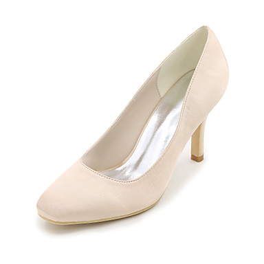Women's Shoes Satin Spring / Summer Basic Pump Wedding Shoes Stiletto Heel Square Toe Blue / Champagne / Ivory / Party & Evening