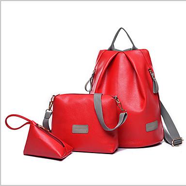 女性用 バッグ PU バッグセット 3個の財布セット のために カジュアル アウトドア オールシーズン ブラック グレー フクシャ レッド ブルー