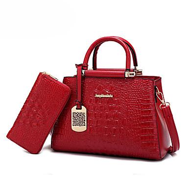 女性 バッグ オールシーズン PU バッグセット 2個の財布セット のために 結婚式 イベント/パーティー カジュアル ブラック レッド ブルー