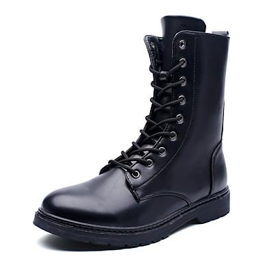 メンズ 靴 レザーレット 春 秋 冬 コンフォートシューズ ファッションブーツ ブーツ 用途 カジュアル ホワイト ブラック Brown