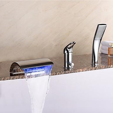Nykyaikainen Kolmiosainen Vesiputous Mukana käsisuihku LED Keraaminen venttiili Kolme reikää Yksi kahva kolme reikää Kromi, Ammehana