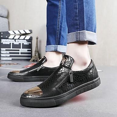 Miehet kengät Nahka Talvi Syksy Comfort Mokkasiinit Vetoketjuilla varten Kausaliteetti Musta Hopea