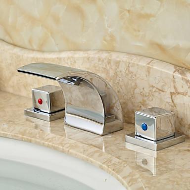 アールデコ調/レトロ風 組み合わせ式 滝状吐水タイプ with  セラミックバルブ 三つ 二つのハンドル三穴 for  クロム , バスルームのシンクの蛇口