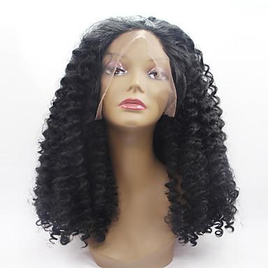 Perucas Lace Front Sintéticas Mulheres Kinky Curly Cabelo Sintético Riscas Naturais Peruca Médio Frente de Malha Preto