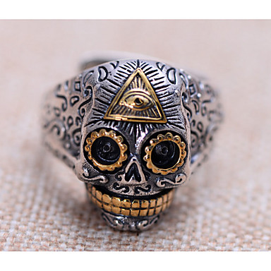 男性用 指輪 ファッション 調整可能 オープン あり 銀メッキ スカル ジュエリー 用途 日常 カジュアル