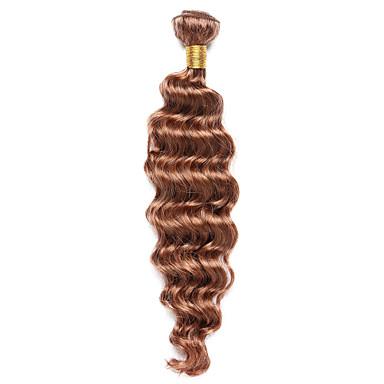 billige Fargede hairextensions-1 pakke Indisk hår Klassisk Dyp Bølge Ekte hår Fargede Hår Bølget Hårvever med menneskehår Hairextensions med menneskehår