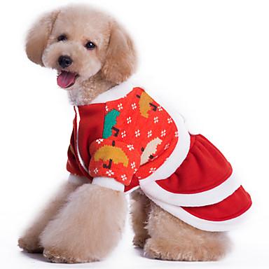 犬 セーター 犬用ウェア クリスマス 花型 レッド