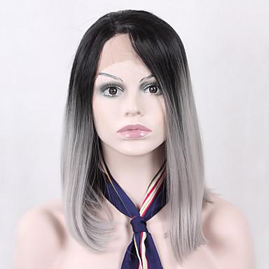 Synteettiset pitsireunan peruukit Suora Bob-leikkaus Synteettiset hiukset Luonnollinen hiusviiva Harmaa Peruukki Naisten Lace Front