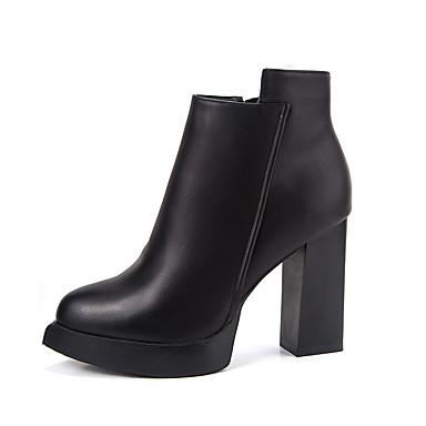 Dame Støvler Komfort Trendy støvler PU Vinter Avslappet Komfort Trendy støvler Glidelås Tykk hæl Svart 7,5 - 9,5 cm
