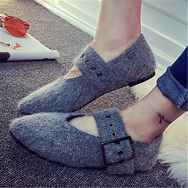 Dame-Fleece-Flat hæl-Ballerina-Flate sko-Kontor og arbeid / Fritid-Svart / Grå