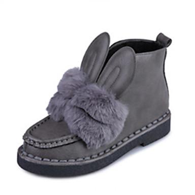 Dame Sko Pels Vinter Komfort / Snøstøvler / Trendy støvler Støvler Lav hæl Titte Tå Svart / Grå