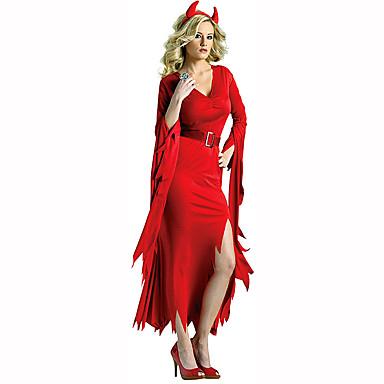 Djevel Dame Festival / høytid Halloween-kostymer Rød Ensfarget