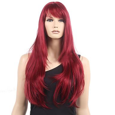 Pelucas sintéticas Mujer Ondulado Rojo Con flequillo Pelo sintético Resistente al Calor Rojo Peluca Larga Monofilamento / Agarre en L / La mitad sin tapa Vino oscuro