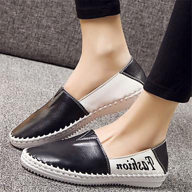女性用 靴 レザー 春 秋 コンフォートシューズ ローファー&スリップアドオン フラットヒール のために カジュアル ホワイト ブラック
