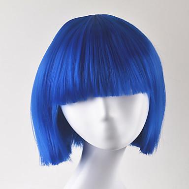 女性 人工毛ウィッグ キャップレス ショート丈 ストレート ブルー ボブスタイル・ヘアカット コスプレ用ウィッグ コスチュームウィッグ