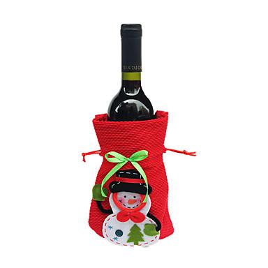klaring lystige xmas julenissen vinflaske dekke poser julemiddagsselskap bord dekor poser røde