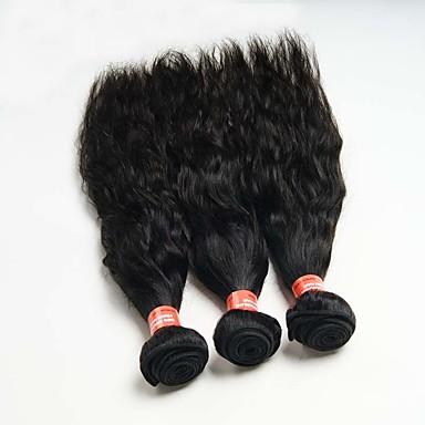 Menneskehår Vevet Brasiliansk hår Naturlige bølger 12 måneder 3 deler hår vever