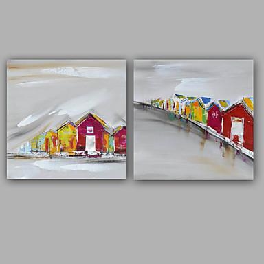 手描きの 抽象画 抽象的な風景画 クラシック 近代の キャンバス ハング塗装油絵 ホームデコレーション 2枚