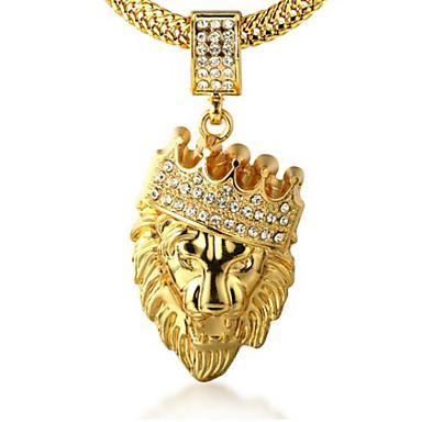Herr Kubisk Zirkoniumoxid Engraverad Hänge Halsband 18K Guldpläterad  Diamantimitation Lejon King Krona Personlig Rock Hiphop Guld 0e9acc96a17f9