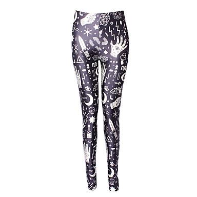 Damer Trykt mønster Tights,Polyester Spandex