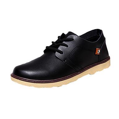 メンズ 靴 レザー 春 秋 コンフォートシューズ オックスフォードシューズ フラットヒール ラウンドトウ 編み上げ 用途 カジュアル ブラック イエロー バーガンディー