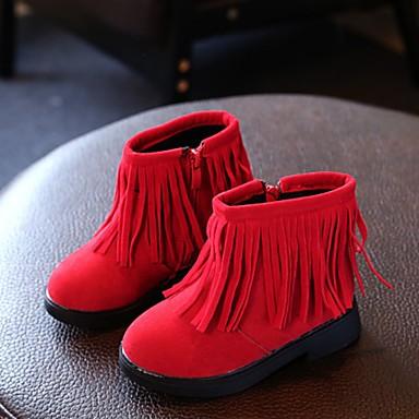 女の子 靴 レザーレット 冬 コンフォートシューズ ブーツ フラットヒール ラウンドトウ 用途 カジュアル ブラック グレー レッド