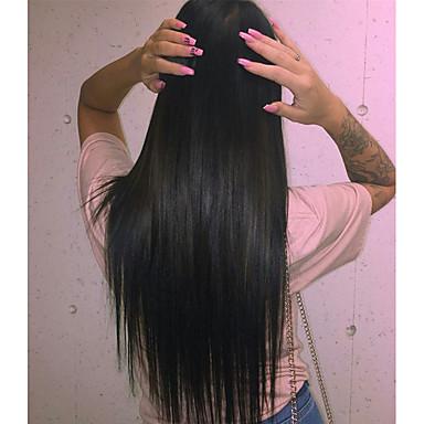 Remy haj Csipke korona, szőtt Csipke Paróka Indiai haj Egyenes Paróka 120% Haj denzitás baba hajjal Természetes hajszálvonal 100% kézi csomózású Női 24 hüvelyk 10 hüvelyk 12 hüvelyk Emberi hajból