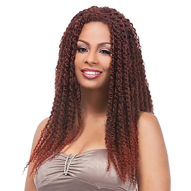 Synteettiset hiukset Peruukit Afro Afrikkalaiset letit Letitetty peruukki Liukuvärjätyt hiukset Luonnollinen peruukki Pitkä