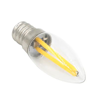 1.5W 80-100 lm E12 LEDボール型電球 T 2 LEDの COB 装飾用 温白色 AC 220-240V