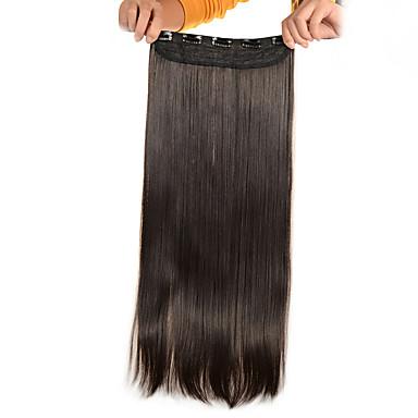 5 leikkeet pitkä suora vaaleanruskea (# 6) synteettinen hiukset leikkeen hiusten pidennykset naisille