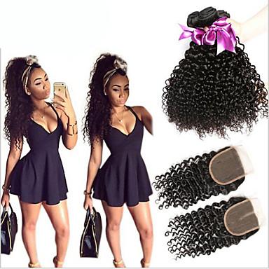 Hair Vetülék, zárral Maláj haj Kinky Curly 6 hónap 4 darab haj sző