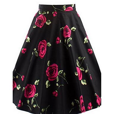 Damen Röcke,A-Linie BlumenLässig/Alltäglich Mittlere Hüfthöhe Knielänge Reisverschluss Polyester Micro-elastisch Sommer