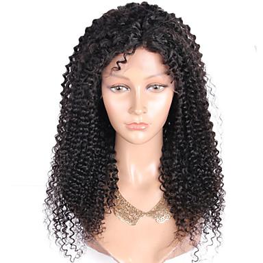 Damen Echthaar Perücken mit Spitze Echthaar Vollspitze 130% Dichte Kinky Curly Perücke Schwarz Kurz Mittel Lang Natürlicher Haaransatz