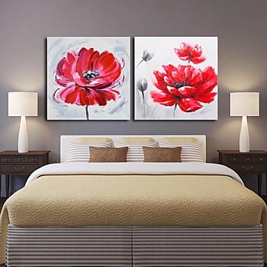 手描きの 抽象画 花柄/植物の 油彩画,Modern クラシック 2枚 キャンバス ハング塗装油絵 For ホームデコレーション