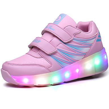 Mädchen Sneaker Komfort Kunststoff Frühling Sommer Herbst Winter Sportlich Normal Walking Komfort LED Flacher Absatz Schwarz Rosa Flach