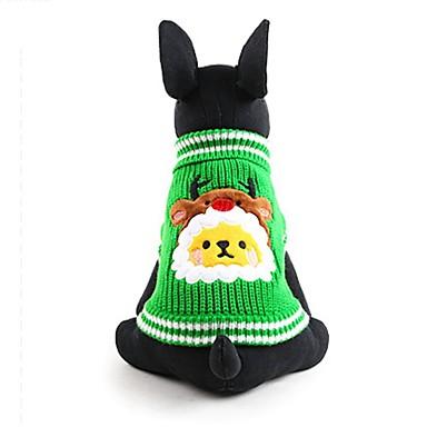犬 セーター 犬用ウェア キュート ファッション 保温 クリスマス アニマル グリーン