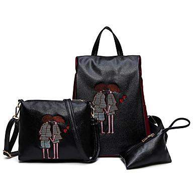 女性用 バッグ PU バックパック 3個の財布セット のために カジュアル オールシーズン ブラック