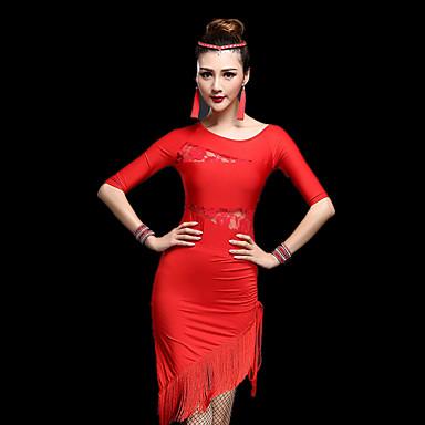 ラテンダンス ドレス 女性用 性能 プロミックス レース タッセル ハーフスリーブ ハイウエスト ドレス ショートパンツ
