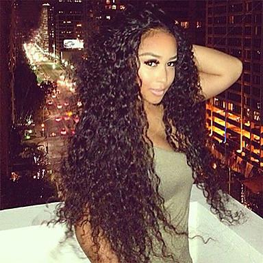 Női Emberi hajból készült parókák Ragasztómentes háló 130% Sűrűség Kinky Curly paróka Jet Black Fekete Sötétbarna Mogyoróbarna