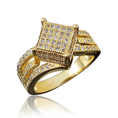 Naisten Cubic Zirkonia Sormus - Gold Plated, 18K Kultapäällystetty Kulta, Valkoinen