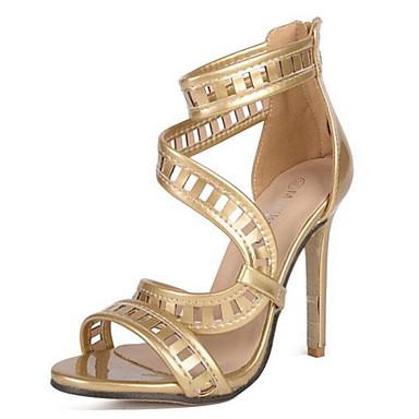 Damen-High Heels-Hochzeit Party & Festivität-Leder-Stöckelabsatz-Komfort Neuheit-Silber Gold