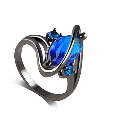 女性 指輪 サファイア 合成サファイア ラインストーン イミテーションダイヤモンド 合金 ジュエリー 結婚式 パーティー