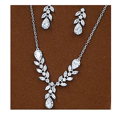 Luxus-Schmuck Zirkon Kubikzirkonia Silber Halsketten Ohrringe Für Party 1 Set Hochzeitsgeschenke