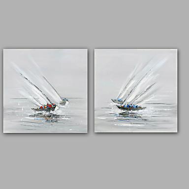 Maalattu Abstrakti Abstraktit maisemakuvat öljymaalauksia,Moderni Classic 2 paneeli Kanvas Hang-Painted öljymaalaus For Kodinsisustus