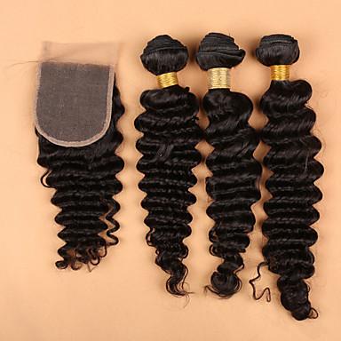 Haar-Einschlagfaden mit Verschluss Brasilianisches Haar Wogende Wellen 12 Monate 4 Stück Haar webt