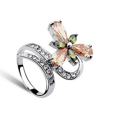 指輪 クリスタル 日常 カジュアル ジュエリー 合金 女性 ステートメントリング 指輪 1個,ワンサイズ シルバー